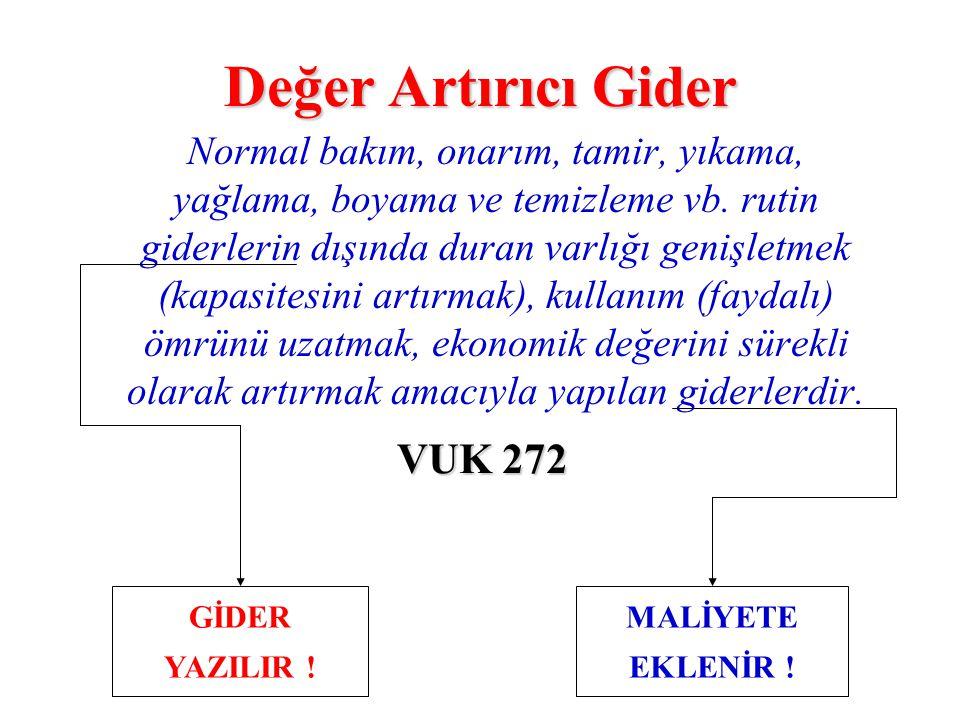 Değer Artırıcı Gider VUK 272