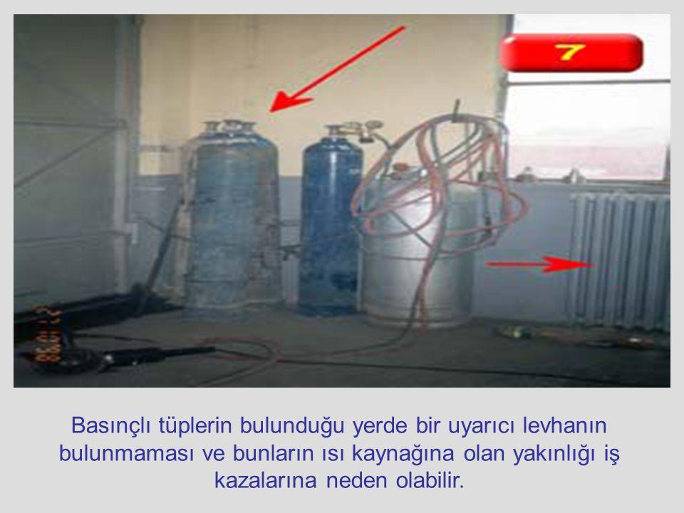 Basınçlı tüplerin bulunduğu yerde bir uyarıcı levhanın