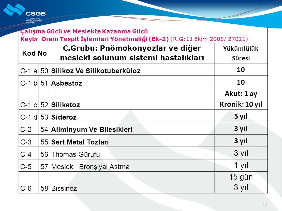 C.Grubu: Pnömokonyozlar ve diğer mesleki solunum sistemi hastalıkları