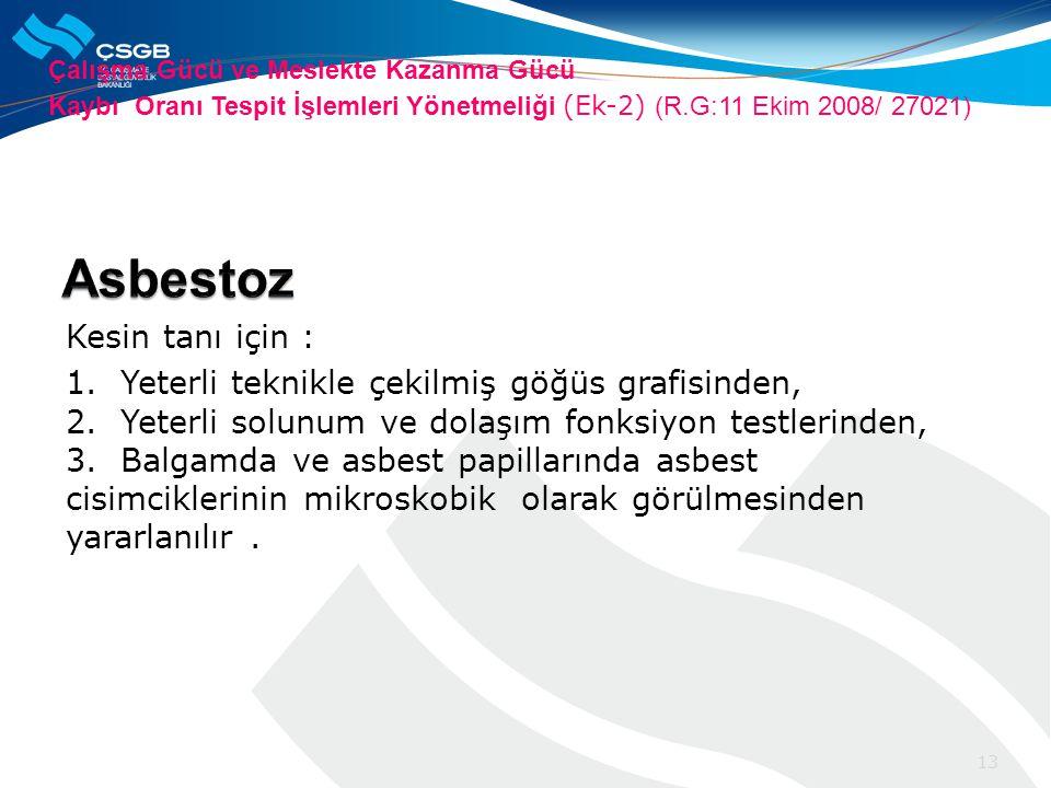 Asbestoz Kesin tanı için :