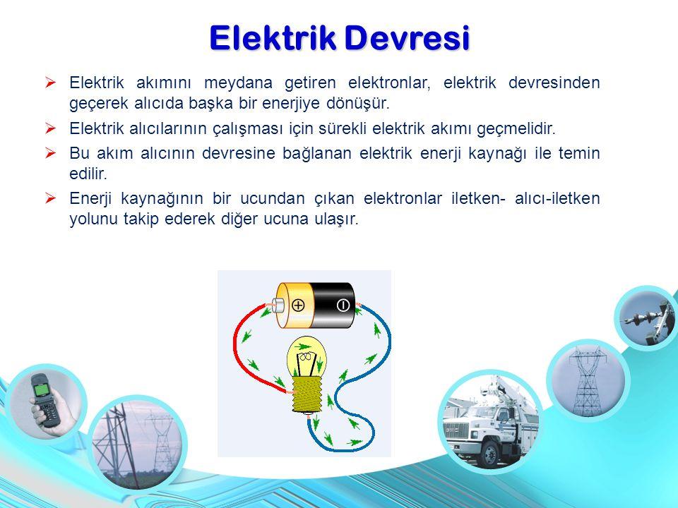 Elektrik Devresi Elektrik akımını meydana getiren elektronlar, elektrik devresinden geçerek alıcıda başka bir enerjiye dönüşür.