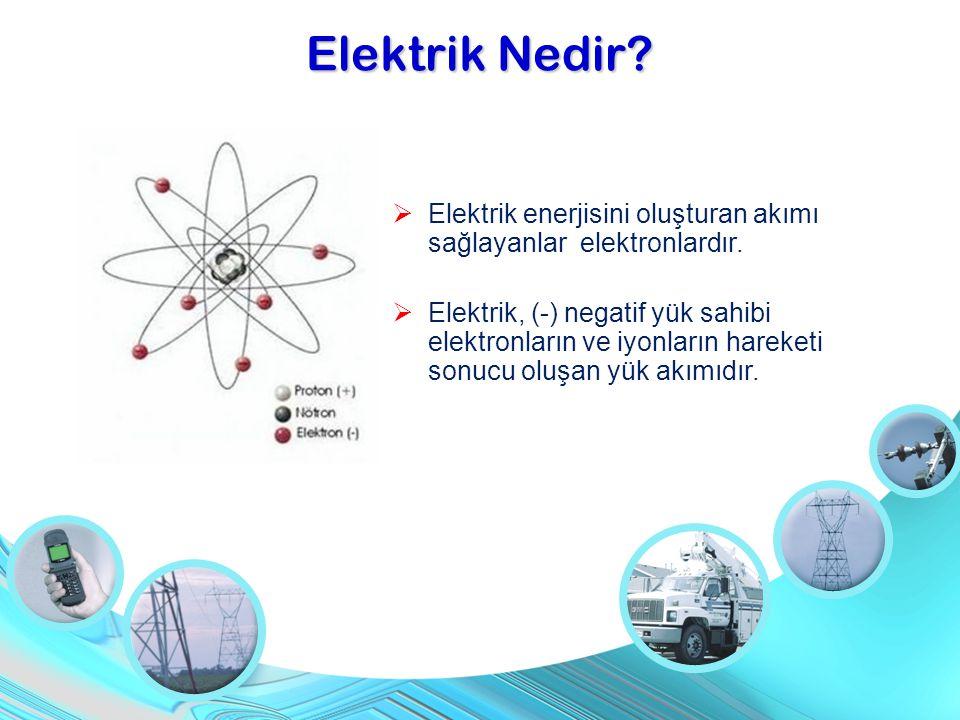 Elektrik Nedir Elektrik enerjisini oluşturan akımı sağlayanlar elektronlardır.