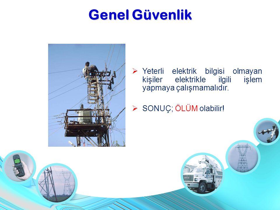 Genel Güvenlik Yeterli elektrik bilgisi olmayan kişiler elektrikle ilgili işlem yapmaya çalışmamalıdır.