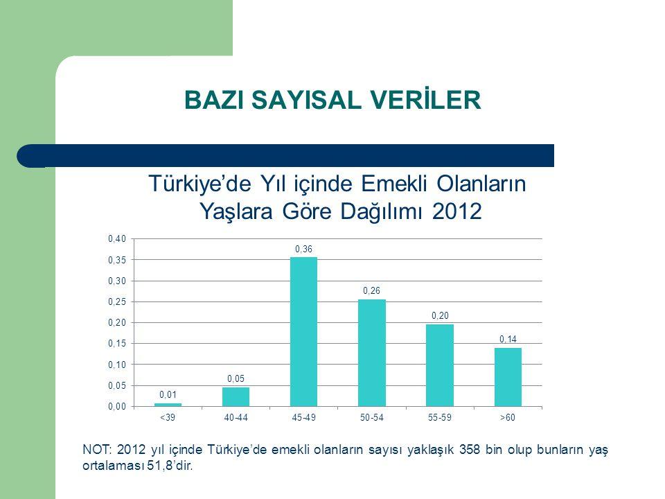 Türkiye'de Yıl içinde Emekli Olanların