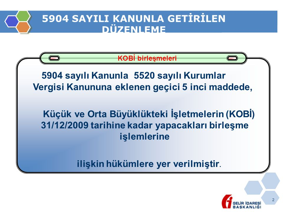 5904 SAYILI KANUNLA GETİRİLEN DÜZENLEME