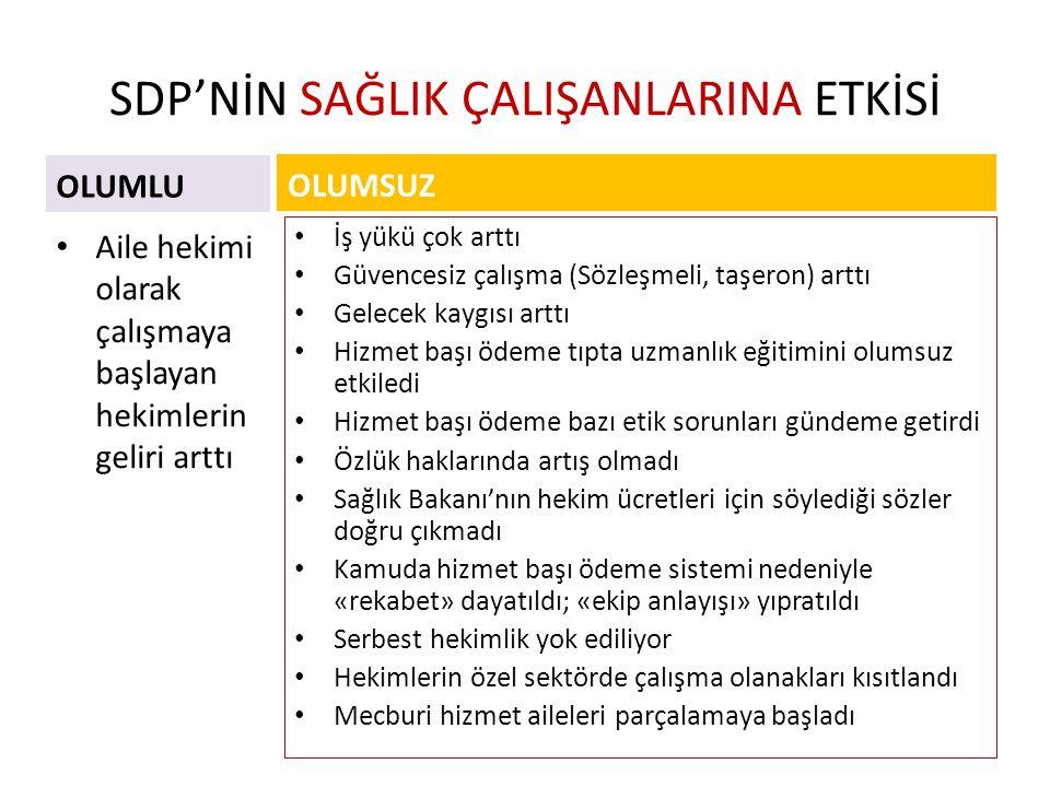 SDP'NİN SAĞLIK ÇALIŞANLARINA ETKİSİ