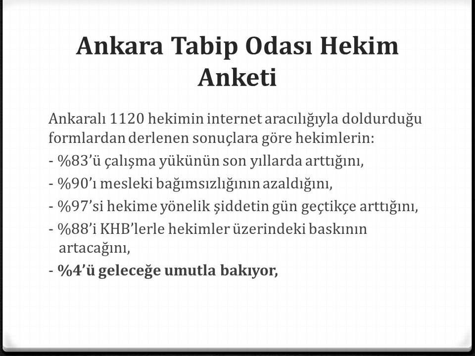 Ankara Tabip Odası Hekim Anketi