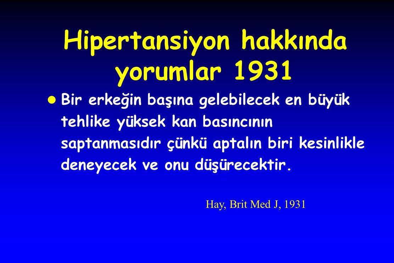 Hipertansiyon hakkında yorumlar 1931