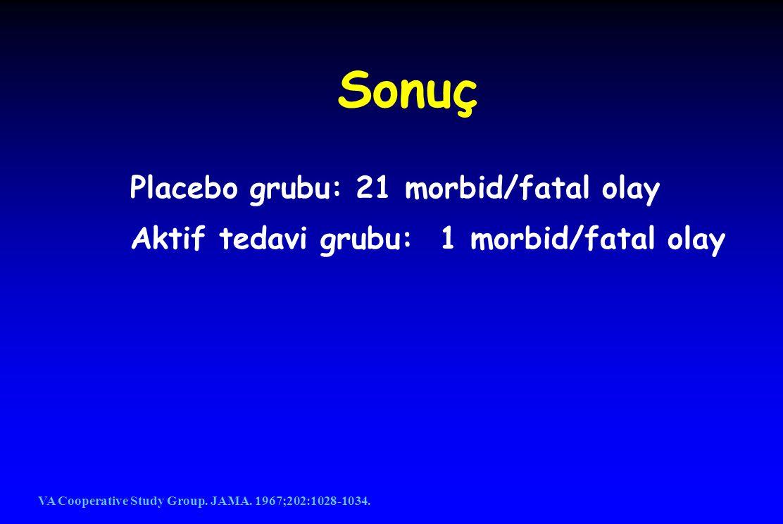 Sonuç Placebo grubu: 21 morbid/fatal olay