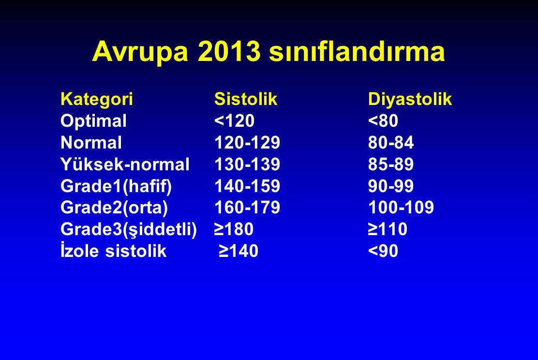 Avrupa 2013 sınıflandırma Kategori Sistolik Diyastolik