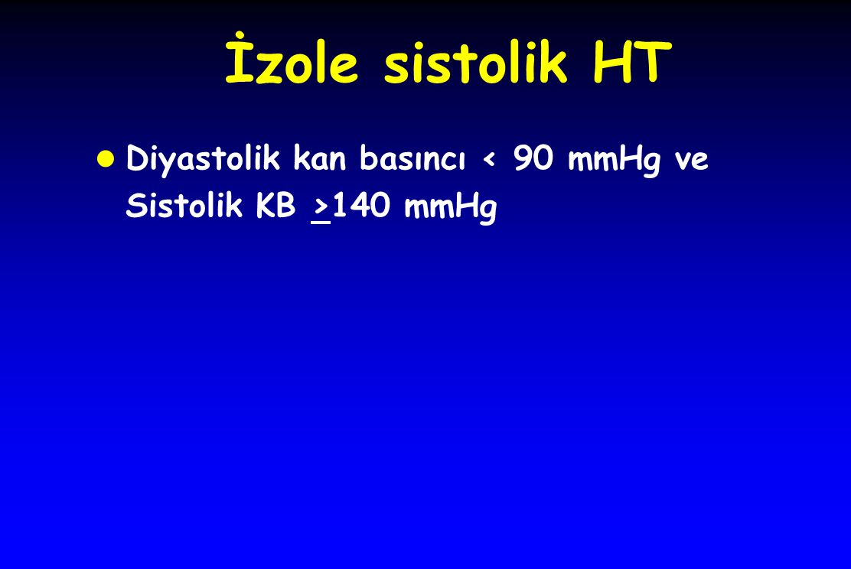 İzole sistolik HT Diyastolik kan basıncı < 90 mmHg ve Sistolik KB >140 mmHg