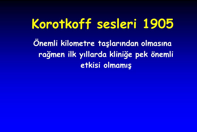 Korotkoff sesleri 1905 Önemli kilometre taşlarından olmasına rağmen ilk yıllarda kliniğe pek önemli etkisi olmamış.