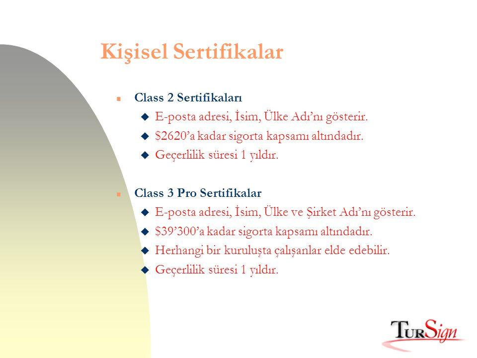 Kişisel Sertifikalar Class 2 Sertifikaları