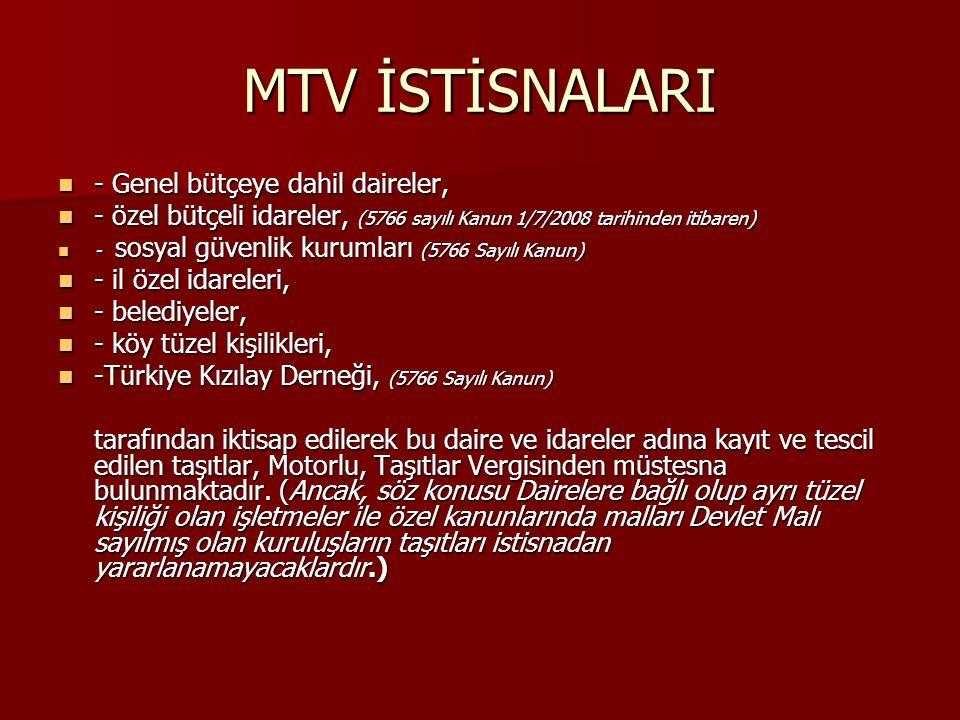 MTV İSTİSNALARI - Genel bütçeye dahil daireler,
