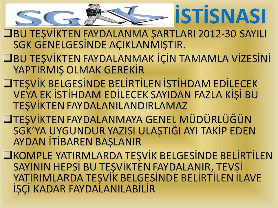 İSTİSNASI BU TEŞVİKTEN FAYDALANMA ŞARTLARI 2012-30 SAYILI SGK GENELGESİNDE AÇIKLANMIŞTIR.