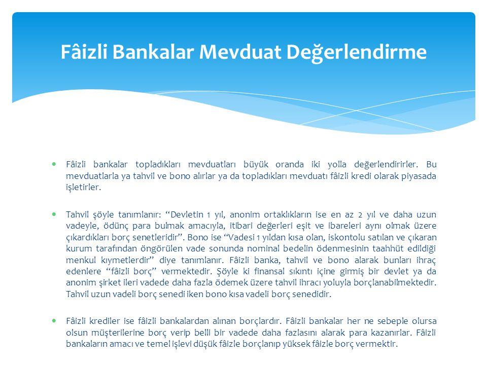 Fâizli Bankalar Mevduat Değerlendirme