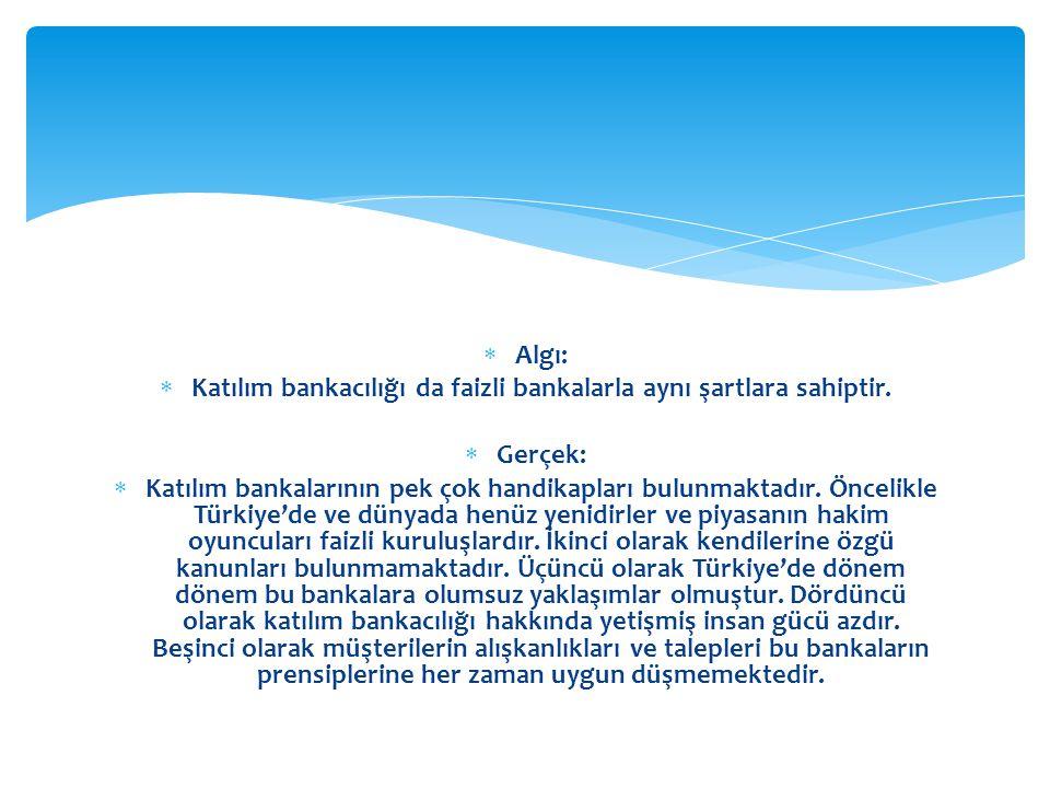 Katılım bankacılığı da faizli bankalarla aynı şartlara sahiptir.
