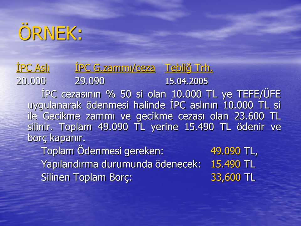 ÖRNEK: İPC Aslı İPC G.zammı/ceza Tebliğ Trh. 20.000 29.090 15.04.2005