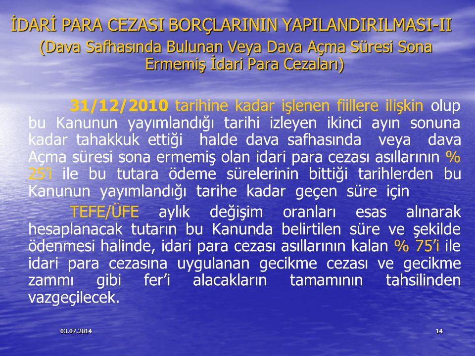 İDARİ PARA CEZASI BORÇLARININ YAPILANDIRILMASI-II