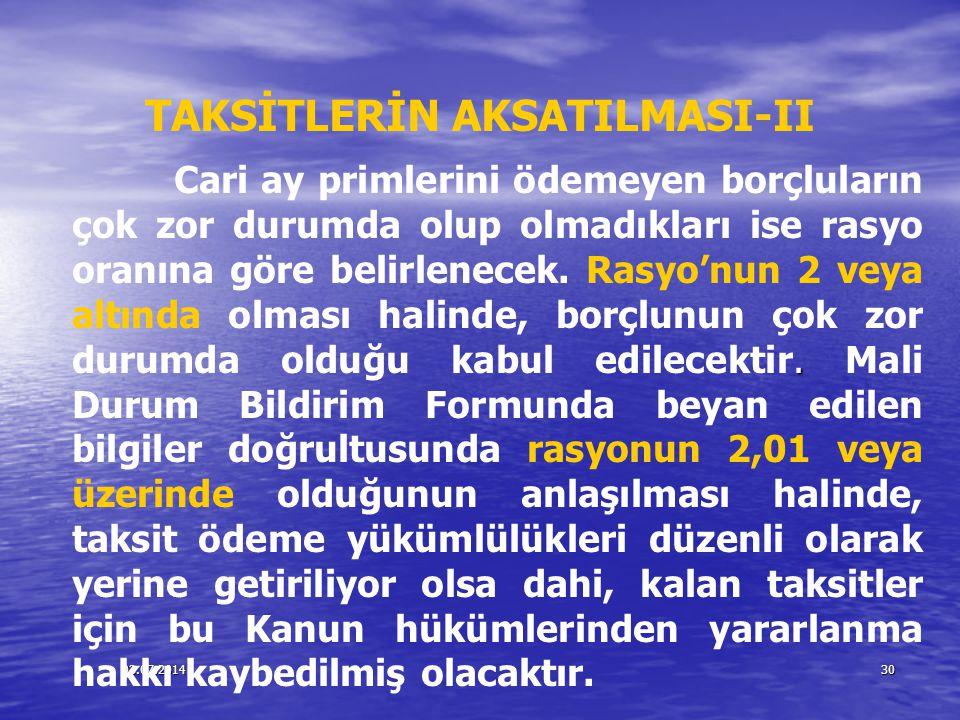 TAKSİTLERİN AKSATILMASI-II