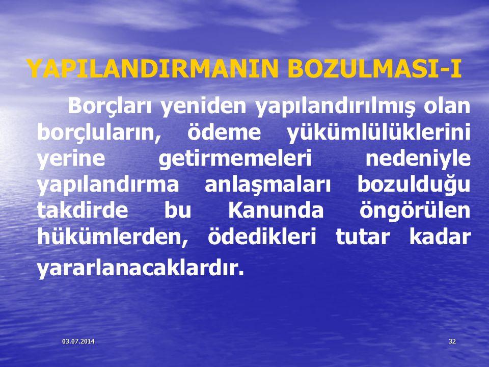 YAPILANDIRMANIN BOZULMASI-I