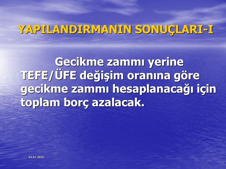 YAPILANDIRMANIN SONUÇLARI-I