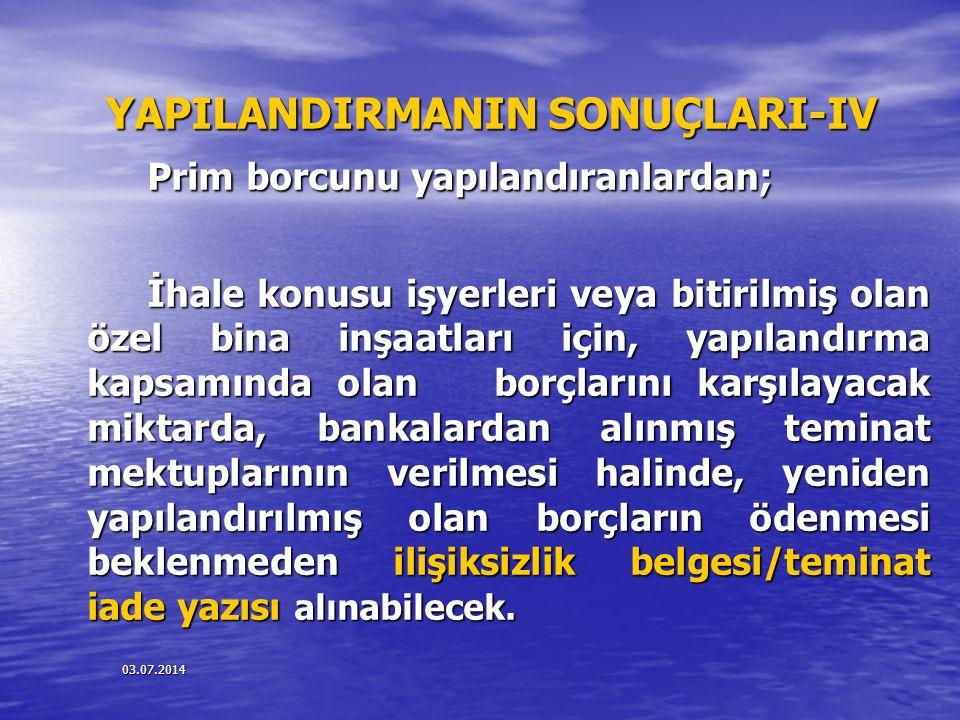 YAPILANDIRMANIN SONUÇLARI-IV