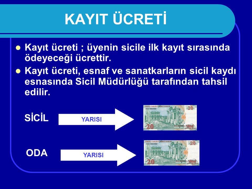 KAYIT ÜCRETİ Kayıt ücreti ; üyenin sicile ilk kayıt sırasında ödeyeceği ücrettir.