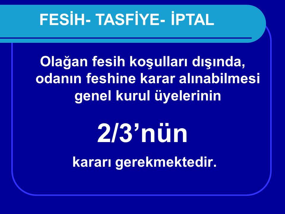 2/3'nün FESİH- TASFİYE- İPTAL