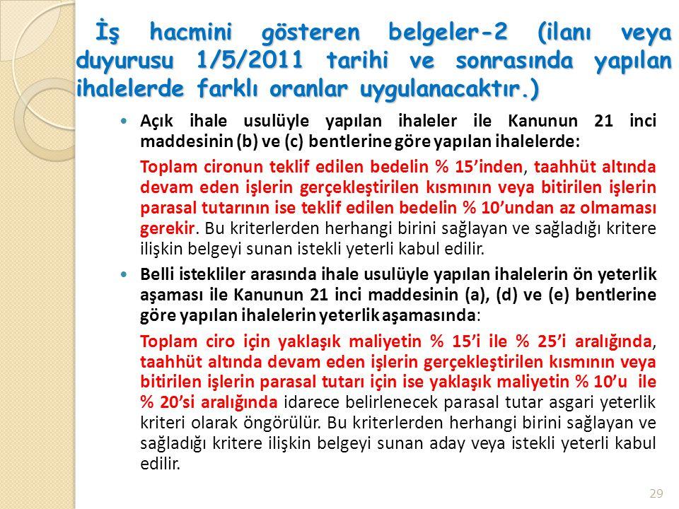 İş hacmini gösteren belgeler-2 (ilanı veya duyurusu 1/5/2011 tarihi ve sonrasında yapılan ihalelerde farklı oranlar uygulanacaktır.)