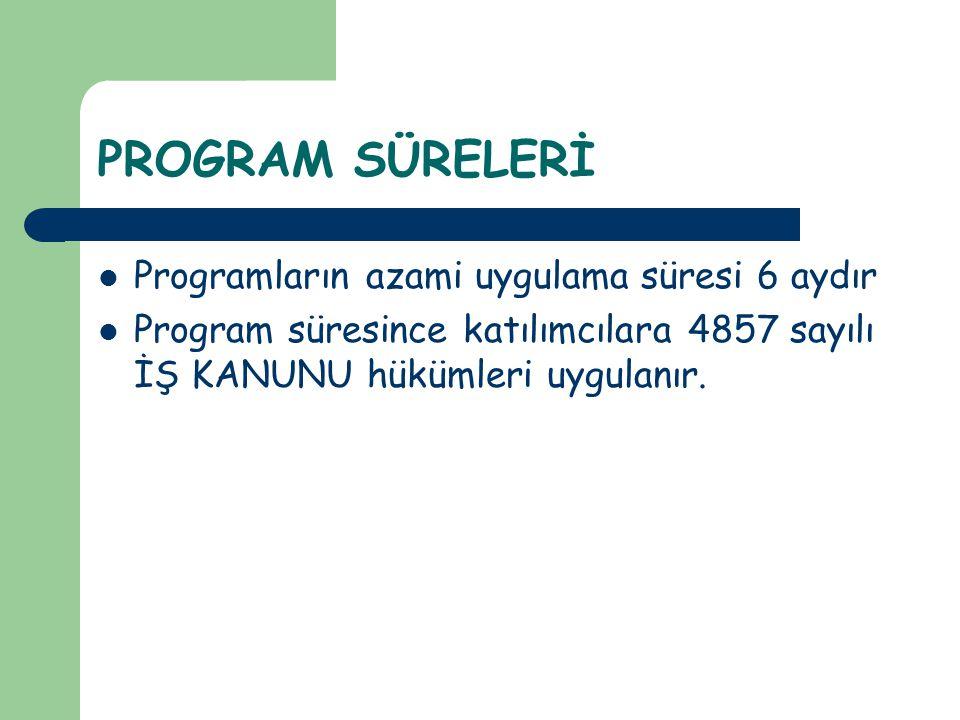 PROGRAM SÜRELERİ Programların azami uygulama süresi 6 aydır