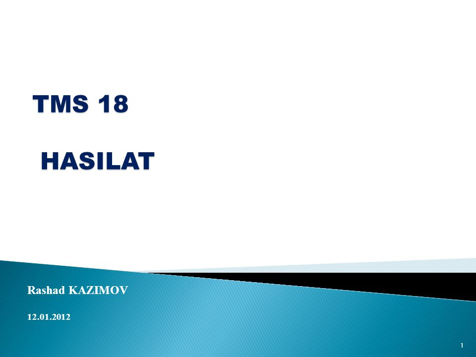 TMS 18 HASILAT Rashad KAZIMOV 12.01.2012