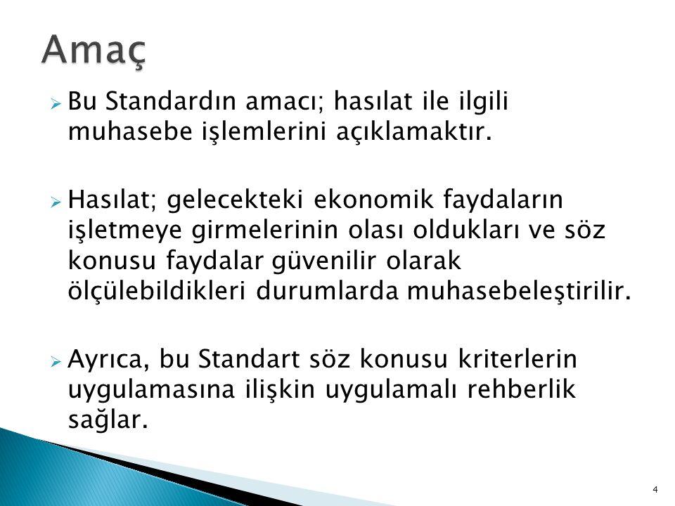 Amaç Bu Standardın amacı; hasılat ile ilgili muhasebe işlemlerini açıklamaktır.