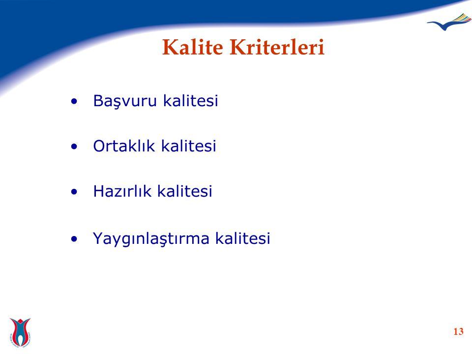 Kalite Kriterleri Başvuru kalitesi Ortaklık kalitesi Hazırlık kalitesi