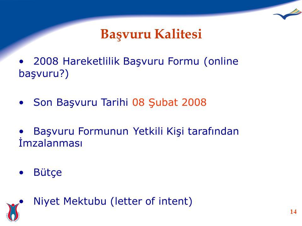 Başvuru Kalitesi 2008 Hareketlilik Başvuru Formu (online başvuru )