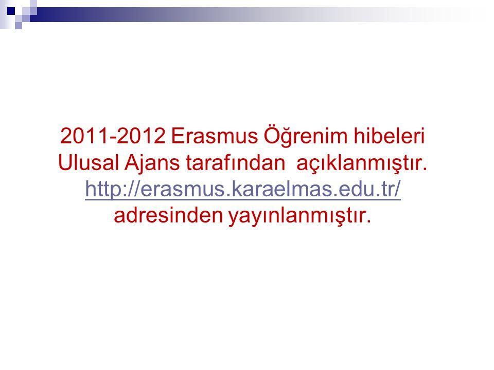 2011-2012 Erasmus Öğrenim hibeleri Ulusal Ajans tarafından açıklanmıştır.
