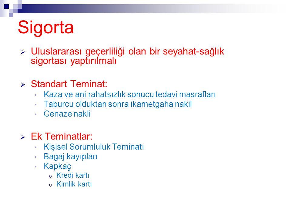 Sigorta Uluslararası geçerliliği olan bir seyahat-sağlık sigortası yaptırılmalı. Standart Teminat: