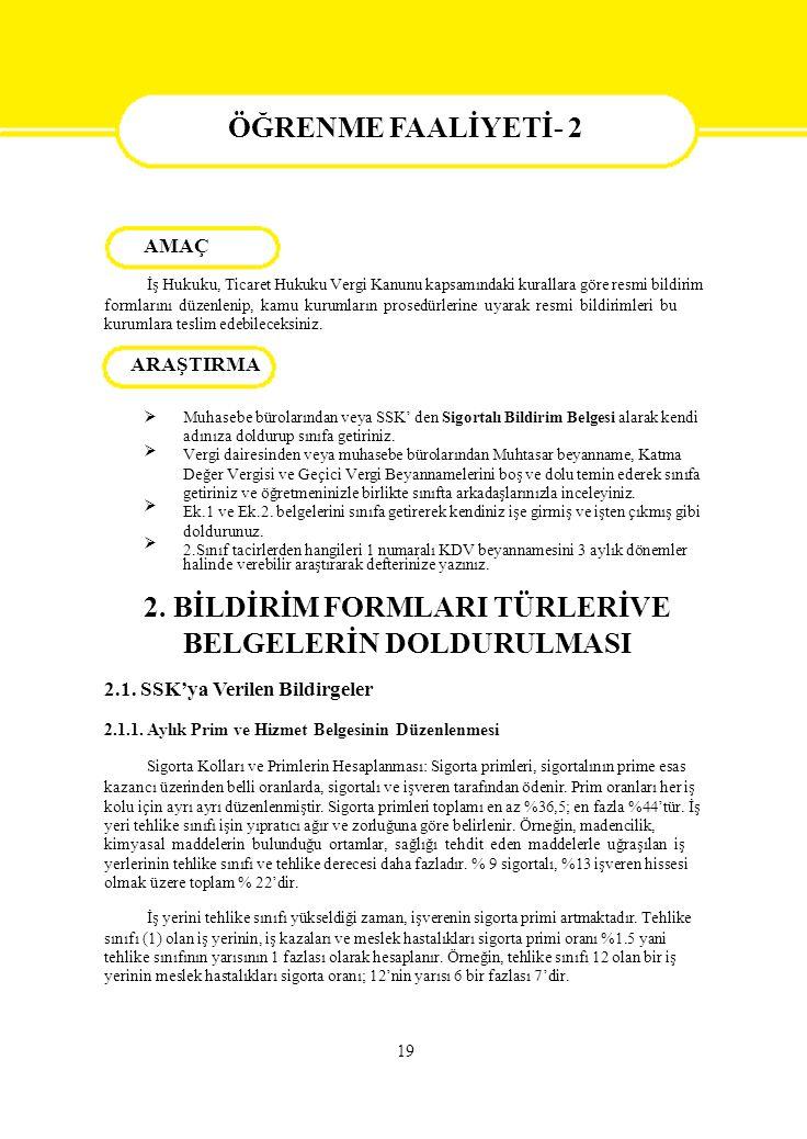 BELGELERİN DOLDURULMASI