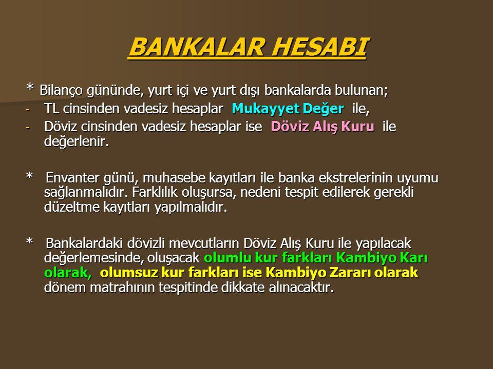 BANKALAR HESABI * Bilanço gününde, yurt içi ve yurt dışı bankalarda bulunan; TL cinsinden vadesiz hesaplar Mukayyet Değer ile,