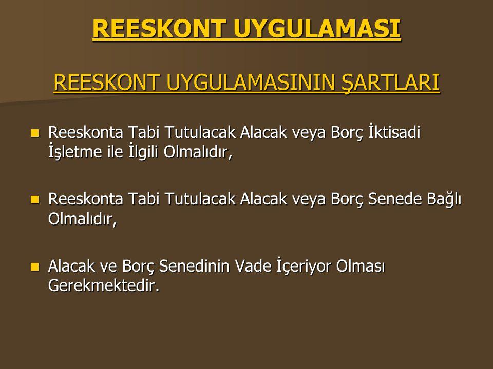 REESKONT UYGULAMASI REESKONT UYGULAMASININ ŞARTLARI