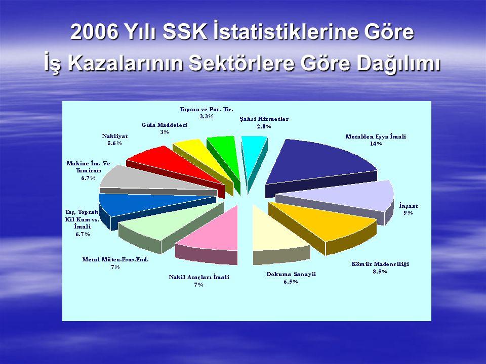 2006 Yılı SSK İstatistiklerine Göre İş Kazalarının Sektörlere Göre Dağılımı