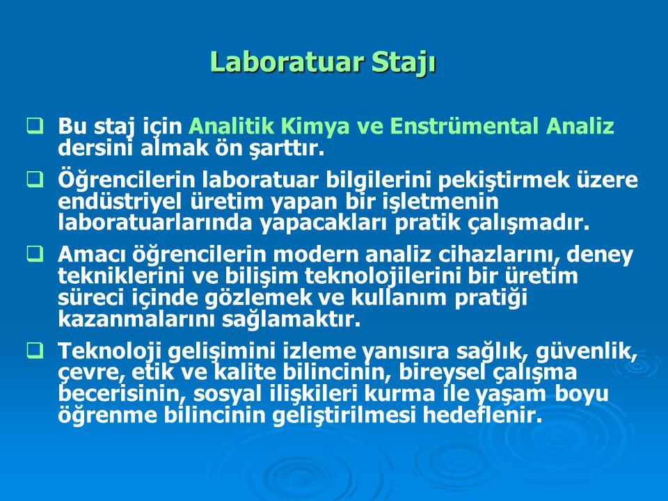 Laboratuar Stajı Bu staj için Analitik Kimya ve Enstrümental Analiz dersini almak ön şarttır.