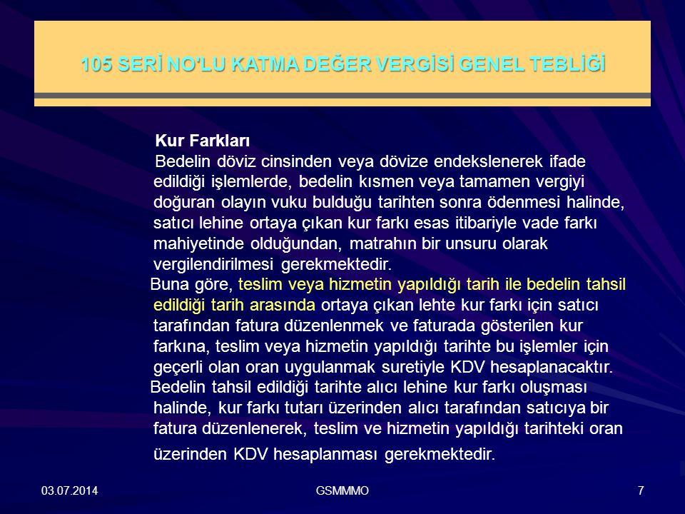 105 SERİ NO LU KATMA DEĞER VERGİSİ GENEL TEBLİĞİ