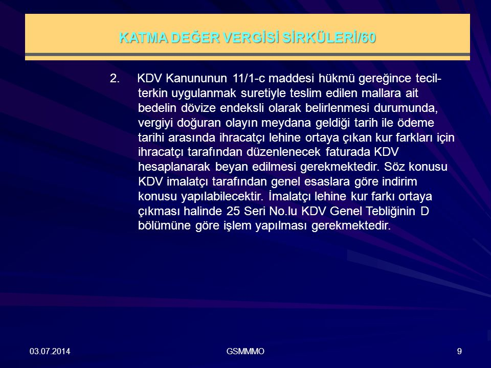 KATMA DEĞER VERGİSİ SİRKÜLERİ/60