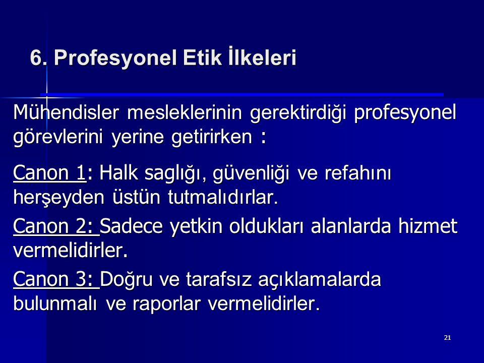 6. Profesyonel Etik İlkeleri