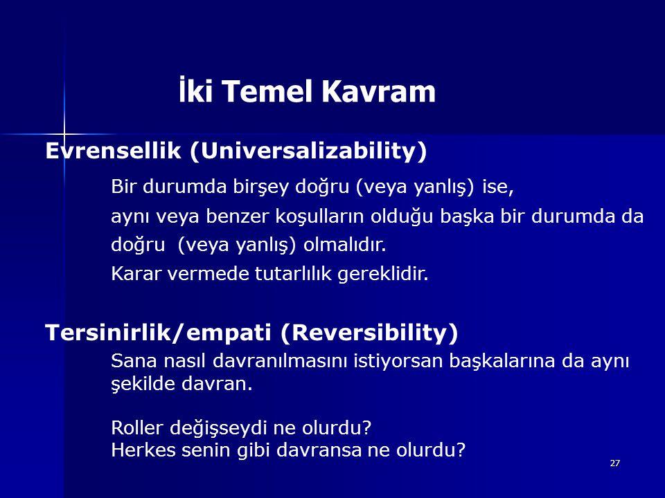 İki Temel Kavram Evrensellik (Universalizability)