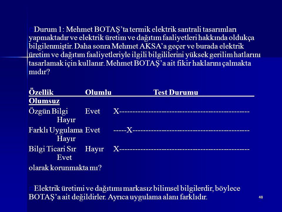 Durum 1: Mehmet BOTAŞ'ta termik elektrik santrali tasarımları yapmaktadır ve elektrik üretim ve dağıtım faaliyetleri hakkında oldukça bilgilenmiştir. Daha sonra Mehmet AKSA'a geçer ve burada elektrik üretim ve dağıtım faaliyetleriyle ilgili bilgililerini yüksek gerilim hatlarını tasarlamak için kullanır. Mehmet BOTAŞ'a ait fikir haklarını çalmakta mıdır