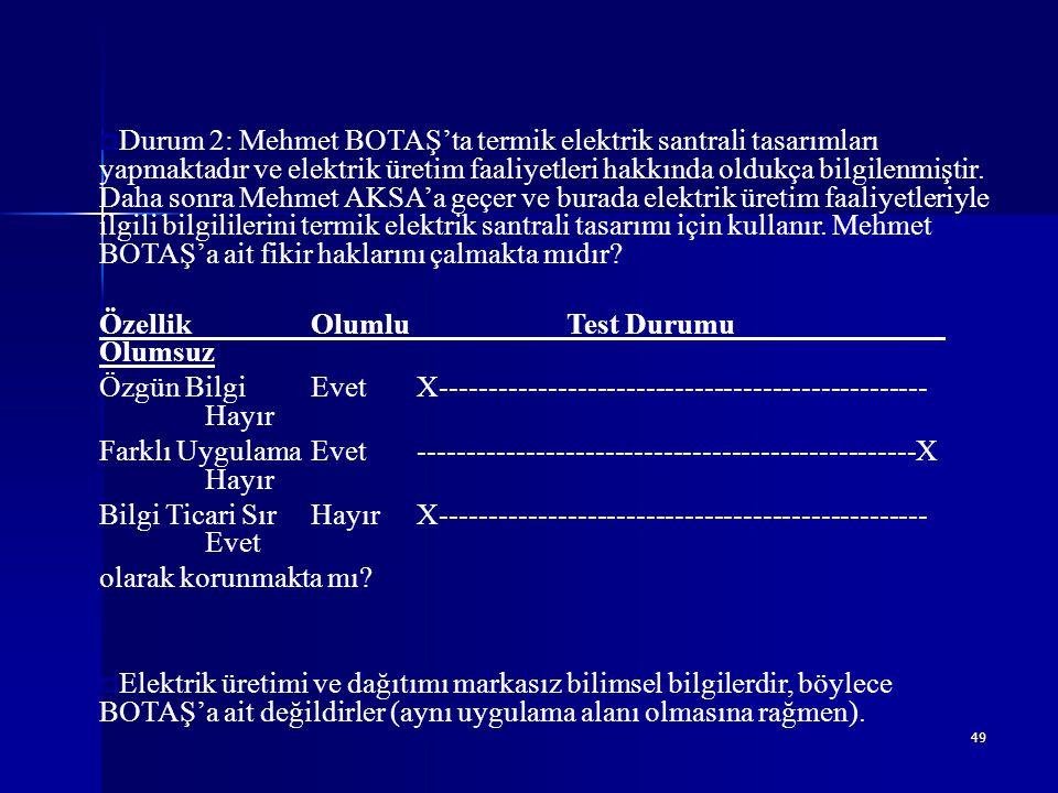 Durum 2: Mehmet BOTAŞ'ta termik elektrik santrali tasarımları yapmaktadır ve elektrik üretim faaliyetleri hakkında oldukça bilgilenmiştir. Daha sonra Mehmet AKSA'a geçer ve burada elektrik üretim faaliyetleriyle ilgili bilgililerini termik elektrik santrali tasarımı için kullanır. Mehmet BOTAŞ'a ait fikir haklarını çalmakta mıdır