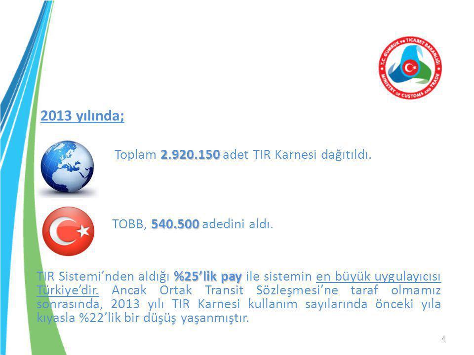 2013 yılında; Toplam 2.920.150 adet TIR Karnesi dağıtıldı.