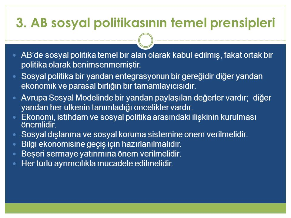 3. AB sosyal politikasının temel prensipleri